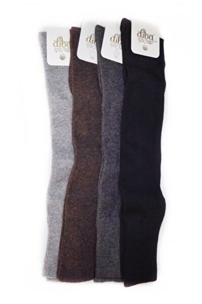 4 Adet Lambswool Yün Kışlık Kadın Diz Üstü Çorap