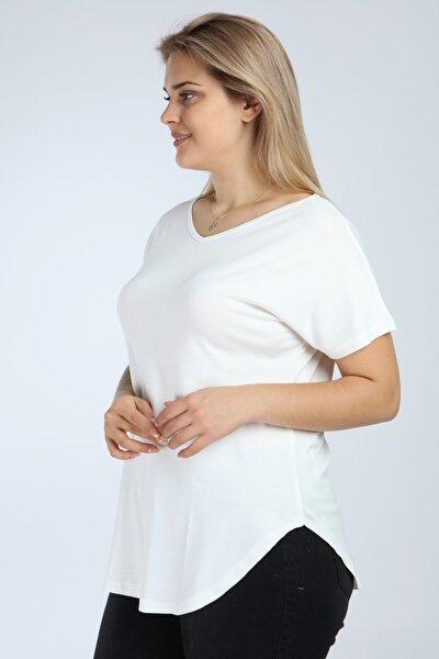 Kadın Ekru Büyük Beden Kısa Kol Yan Yırtmaç Bluz