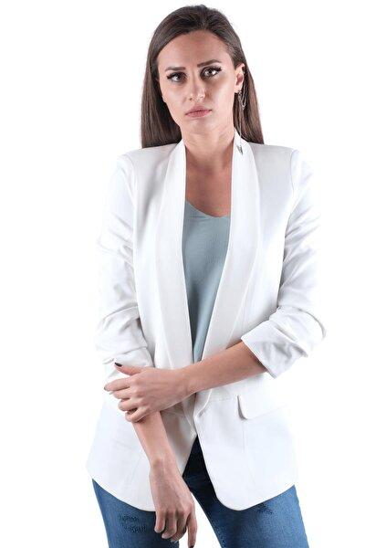 Kolu Büzgülü Sahte Cepli Önü Açık Blazer Ceket