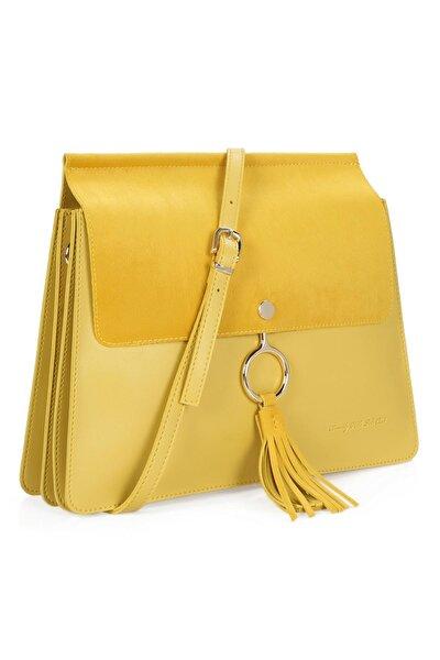 Kadın Püsküllü El ve Omuz Çantası Sarı