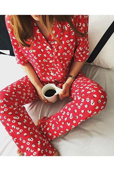 Kadın Kırmızı Çiçekli Pijama Takımı