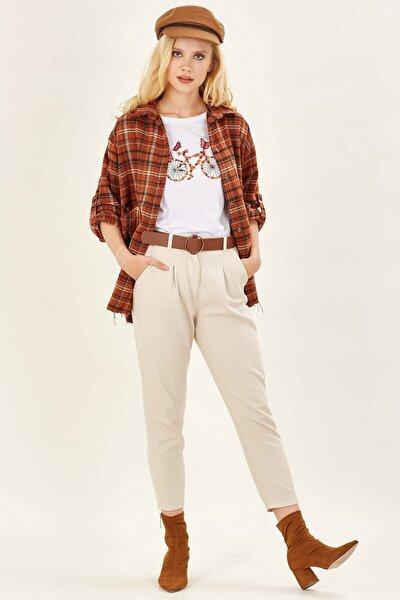 Kadın Taş Deri Kemerli Pantolon