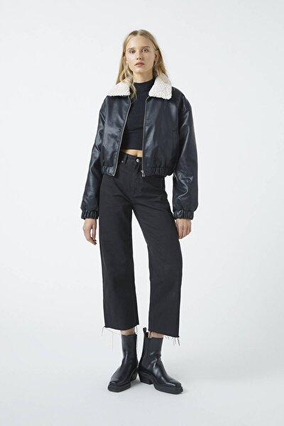 Kadın Siyah Crop Straight Fit Pantolon 09672324