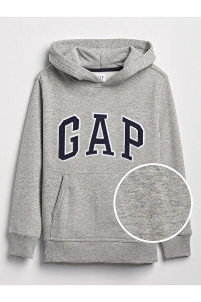 Erkek Çocuk Erkek Gri Logo Kapüşonlu Sweatshirt