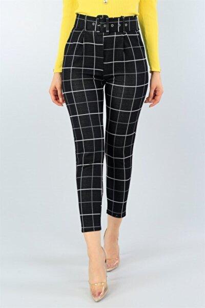 Kadın Siyah Kemer Detay Likralı Pantolon