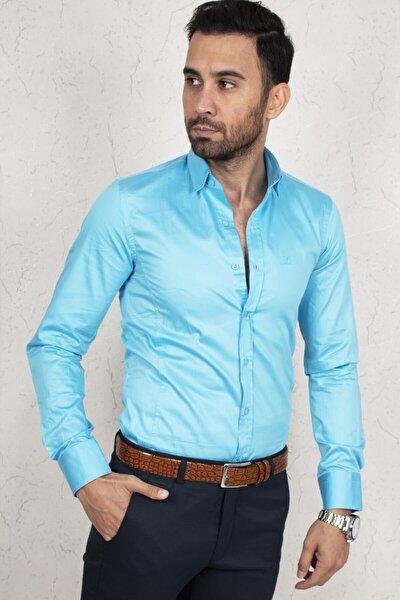 Erkek Mavi Regular Fit Gömlek 2000165