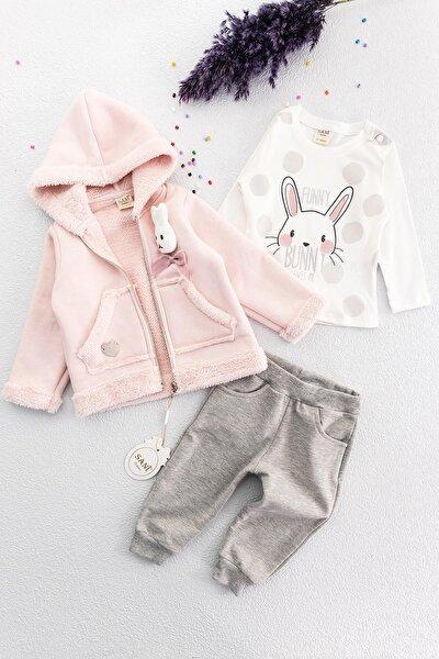 Kız Bebek Pembe Tavşan Figürlü Takım 3lü