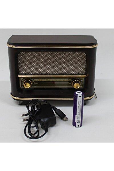 Ahşap Retro Nostaljik Radyo Kahve Rengi İstanbul Model Şarjlı Pil ve Adaptörlü