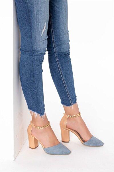 Kadın Klasik Topuklu Ayakkabı - Mavi (süet)