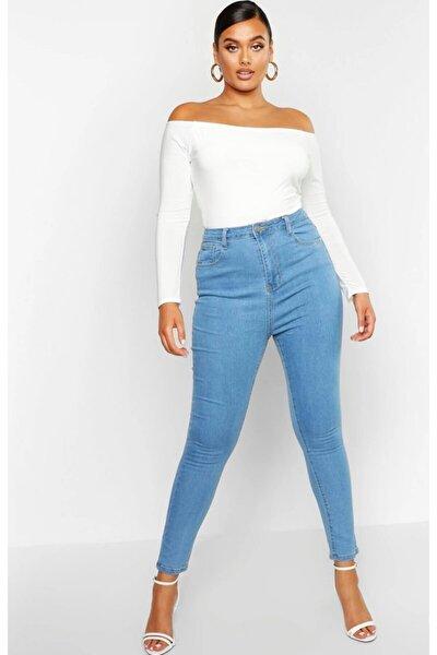 Kadın Açık Mavi Büyük Beden  Likralı Kot Pantolon
