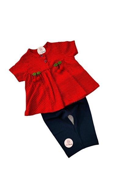 Unisex Bebek Kırmızı Kirazlı Kısa Kol Takım