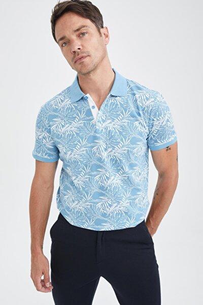 Slim Fit Polo Yaka Floral Desenli Kısa Kollu Tişört