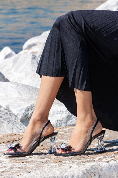 Kadın Siyah Cilt Boncuk Tokalı Şeffaf Topuklu Ayakkabı 7,5 cm