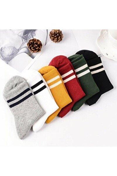 Unisex 6'lı Karışık Renkli Çizgili Tenis Çorabı