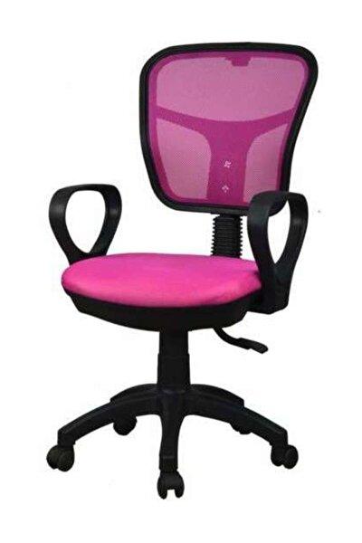 Fileli Bilgisayar Ofis Çalışma Sandalyesi Koltuğu Pembe