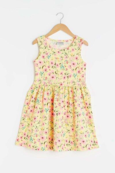 Kız Çocuk Açık Sarı Baskıl Lu9 Elbise