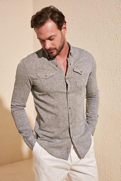 Haki Erkek Çift Cep Kapaklı Keten Slim Fit Gömlek TMNSS20GO0100