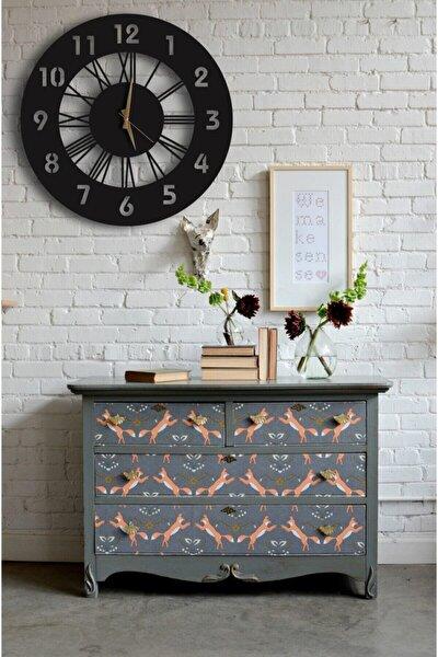 Dekoratif Duvar Saati + Yapraklı Tablo