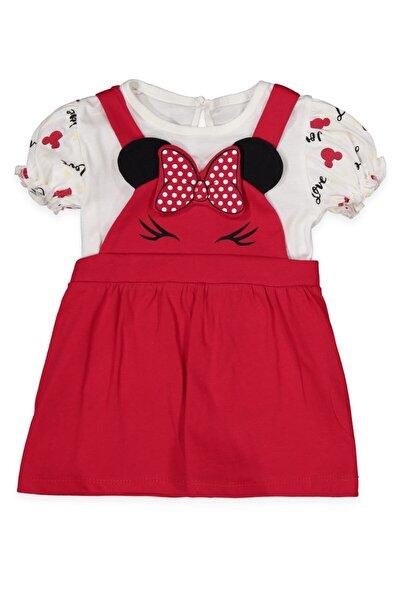 Kız Bebek Miki Aplikeli   Elbise Takım