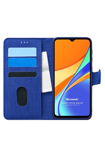 Microsonic Redmi 9c Uyumlu Kılıf Fabric Book Wallet Lacivert
