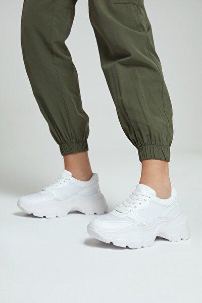 Kadın Beyaz Yüksek Tabanlı Sneaker