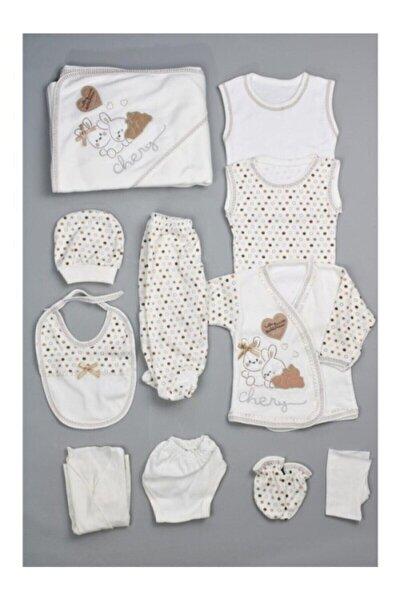 Unisex Bebek Beyaz Real 26 Tavşan Resimli 11li Yenidoğan Hastane Çıkış Seti
