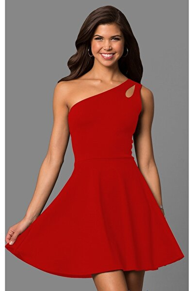Tek Omuz Detaylı Kiloş Kırmızı Mini Elbise 320