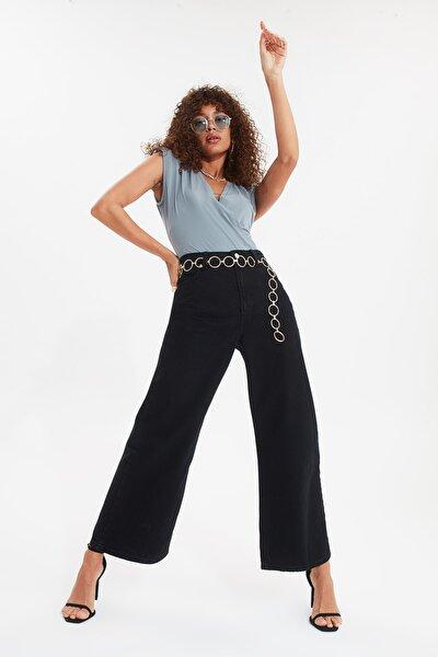 Siyah Yüksek Bel Culotte Jeans TWOSS20JE0141