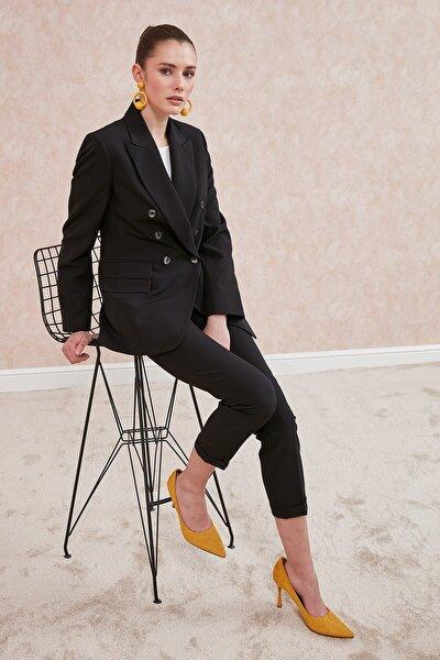 Kadın Siyah Klasik Yaka Kruvaze Çoklu Düğmeli,Çift Kapak Cep Ceket