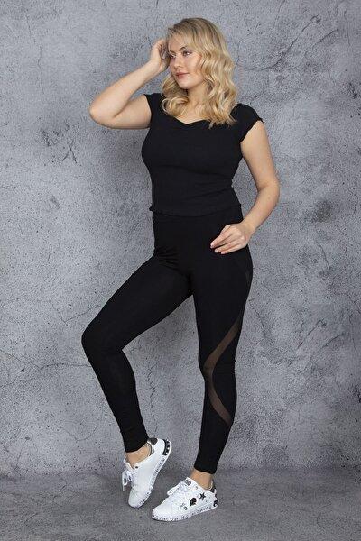 Kadın Siyah Tül Detaylı Tayt Pantolon 65N24119