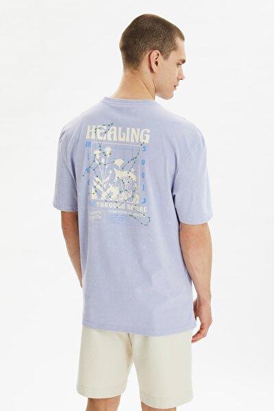 Lila Erkek Oversize Fit T-Shirt TMNSS21TS3288