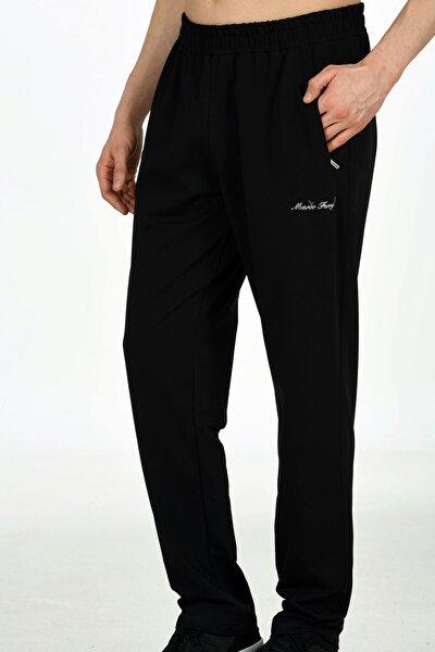 Siyah Erkek Iki Iplik Klasik Model Cepli Düz Paça Eşofman Altı 0025