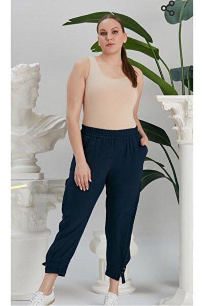 Kadın Lacivert Paça Yırtmaç Detaylı Beli Lastikli Büyük Beden Pantolon