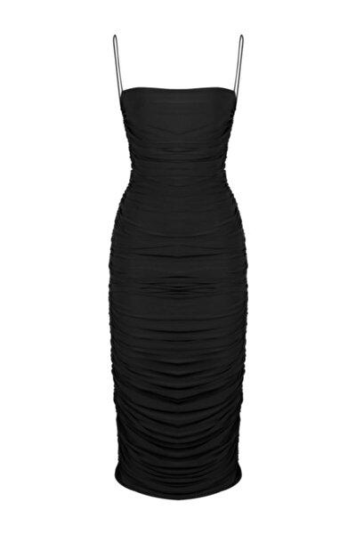 Kadın Siyah İnce Askılı Midi Abiye Elbise