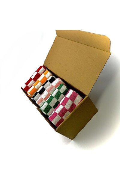 Karışık Renkli Pöti Kare Desenli Kadın Çorap