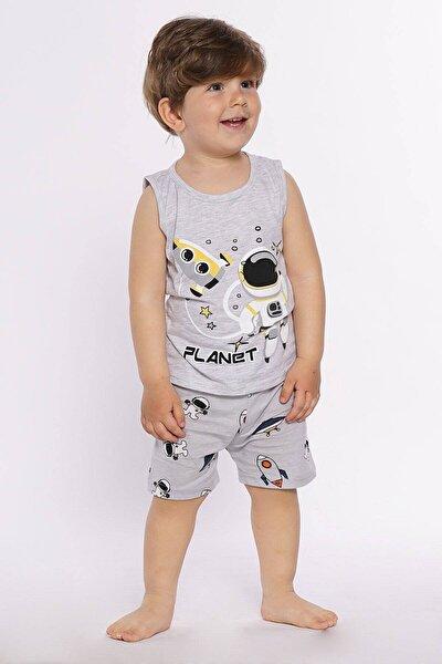 Erkek Çocuk Gri Şortlu Pijama Takımı Planet Baskı 4-9 Yaş