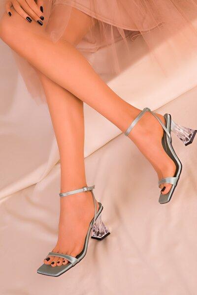 Yeşil Saten Kadın Klasik Topuklu Ayakkabı 15916