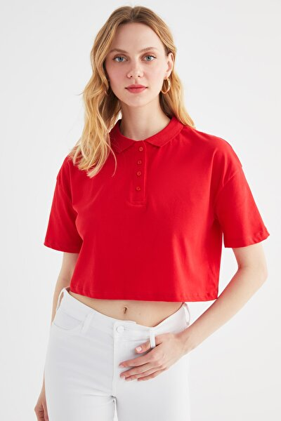 Kırmızı Polo Yaka Örme Bluz TWOSS21BZ2037