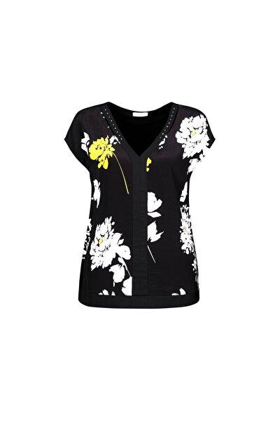 Kadın Siyah Çiçek Desenli Taşlı Bluz