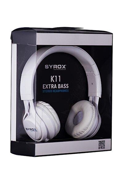 J-50 K11 Beyaz Kulaküstü Mikrofonlu Aux Kablolu Kulaklık