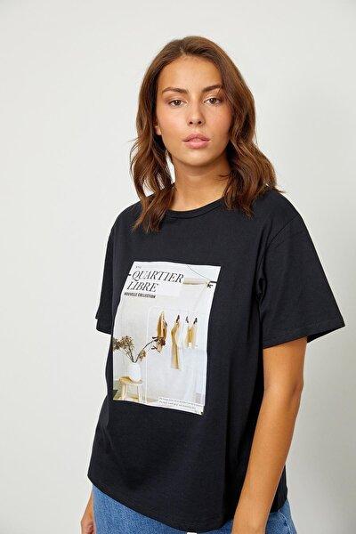 Siyah Baskılı Kısa Kol T-shirt