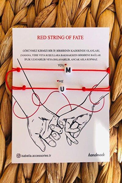 Unisex Sevgili Bilekliği Kırmızı Baş Harflere Özel