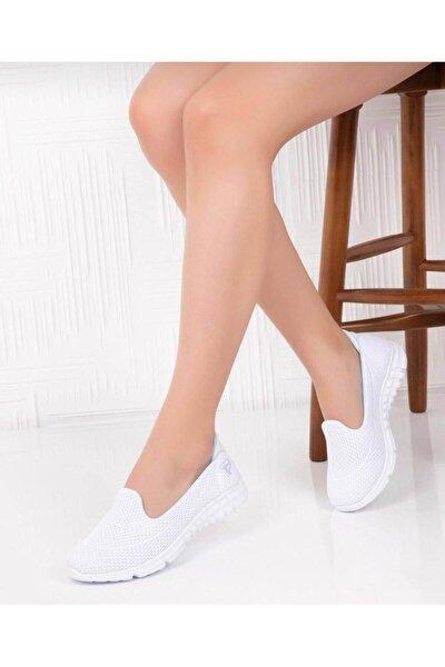 Kadın Beyaz Bağcıksız Günlük Ortopedik Spor Babet