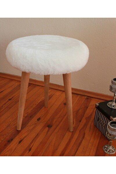 Gürgen Ahşap Retro Ayak Dekoratif Beyaz Peluş Puf Tabure Bench Koltuk Sandalye