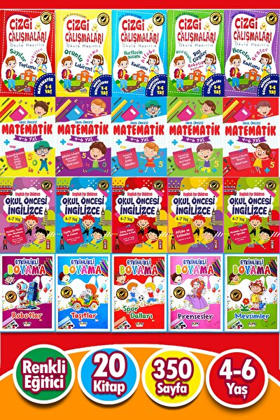 5 - 6 Yaş - 20 Kitap Okul Öncesi Karma Eğitim Seti 350 Sayfa