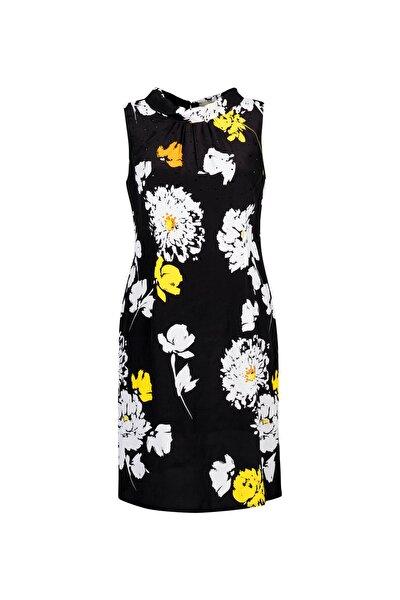 Kadın Siyah Çiçek Desenli Kayık Yaka Midi Elbise