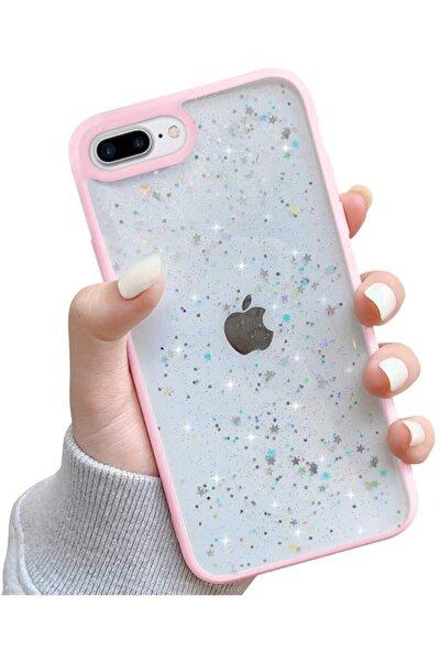 Iphone 7 Plus / 8 Plus Kenarı Pembe Renkli Simli Darbe Önleyici Silikon Kılıf