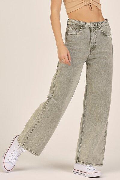 Kadın Haki Renk Wide Leg Bol Paça Yüksek Bel Jean