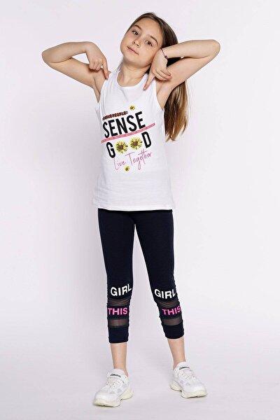 Kız Çocuk Beyaz Sense Good Baskılı T-shirt Atlet 8 12 Yaş