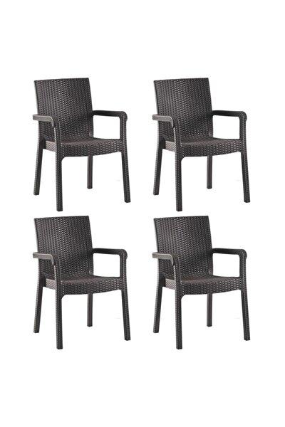 Romanoset Victor Rattan Balkon Ve Bahçe Sandalyesi 4 Lü Set